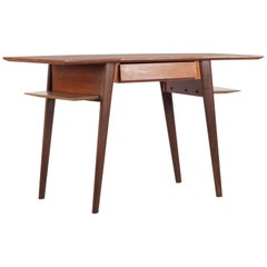 Teak Writing Desk with Drawer, Design by Silvio Cavatorta, Italy, 1960s