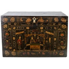 Teakwood Chinese Painted Storage Trunk