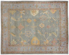 Teal and Gold Oushak Rug
