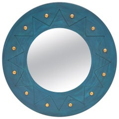 Teal and Gold Vintage French Mirror