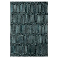 Teal, Art Deco Inspired Customizable Largo Teal Cowhide Area Floor Rug Large