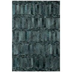 Teal, Art Deco Inspired Customizable Largo Teal Cowhide Area Floor Rug X-Large
