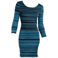 Teal & Black Prabal Gurung Striped Knit Dress