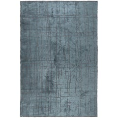 Teal Blue and Gray Contemporary Pattern Luxury Soft Semi-Plush Rug