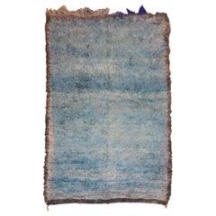 Teal Blue Midcentury Moroccan Minimalist Rug