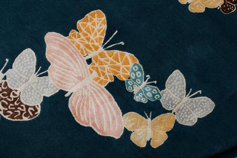 Hand-Knotted Teal, Blue, Orange, Pink, Round Wool and Silk Rug, Butterfly Pattern 150 Knots For Sale