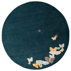 Teal, Blue, Orange, Pink, Round Wool and Silk Rug, Butterfly Pattern, handmade