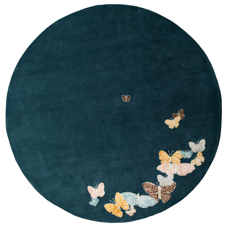 Teal, Blue, Orange, Pink, Round Wool and Silk Rug, Butterfly Pattern 150 Knots For Sale