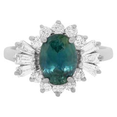 Teal Blue Sapphire and Baguette Diamond Ring