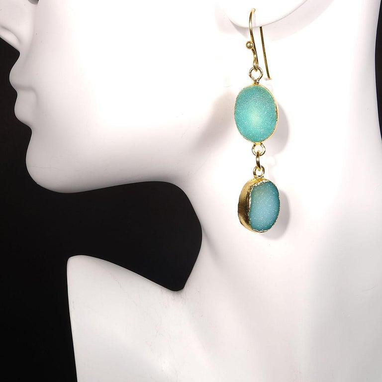 Teal Color Druzy Dangle Earrings with Goldy Bezels In New Condition For Sale In Tuxedo Park, NY