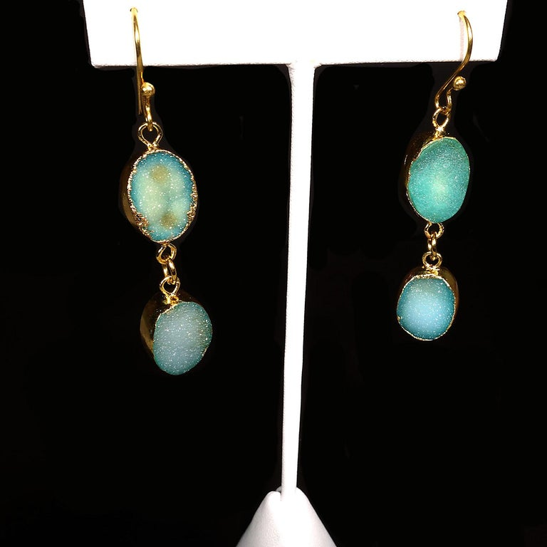 Women's or Men's Teal Color Druzy Dangle Earrings with Goldy Bezels For Sale