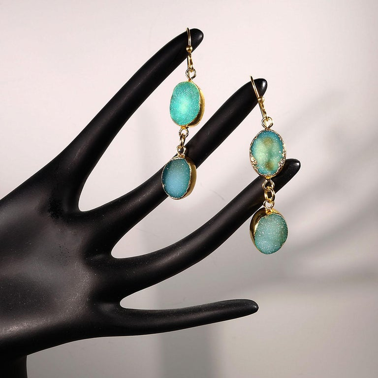 Teal Color Druzy Dangle Earrings with Goldy Bezels For Sale 1