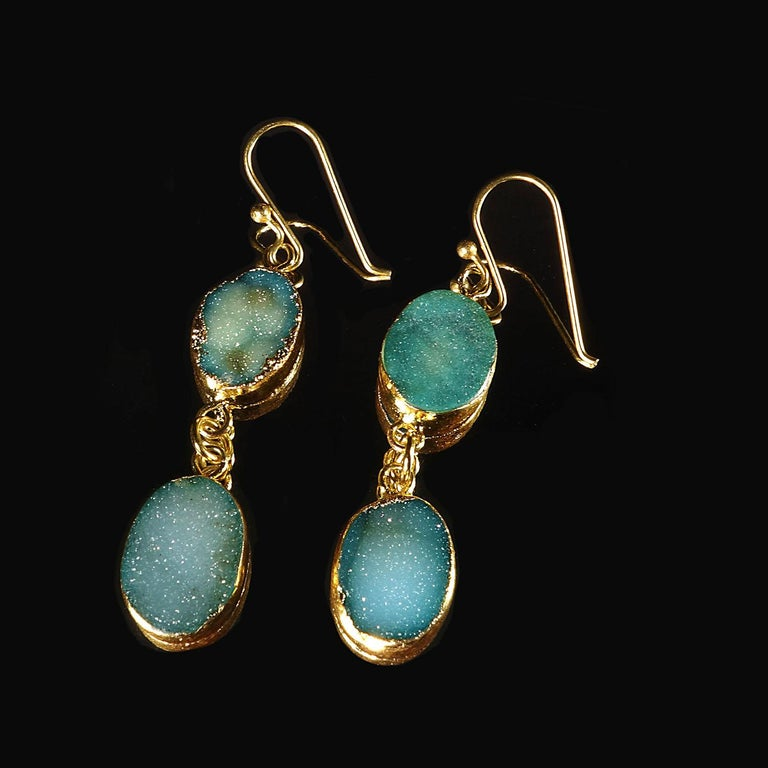 Teal Color Druzy Dangle Earrings with Goldy Bezels For Sale 2