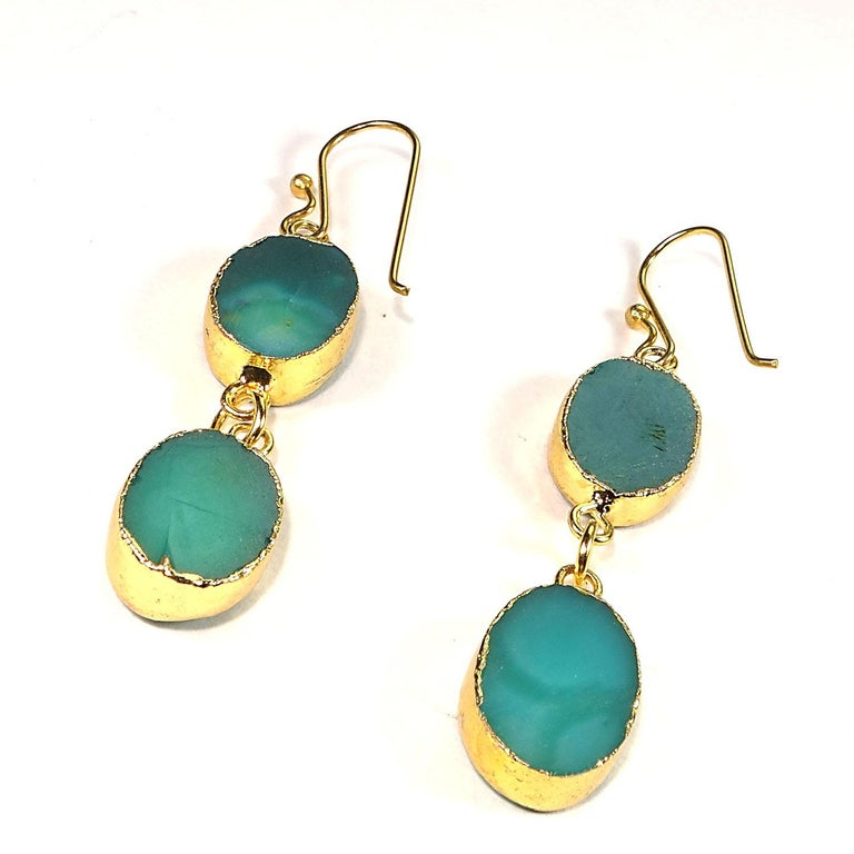 Teal Color Druzy Dangle Earrings with Goldy Bezels For Sale 3