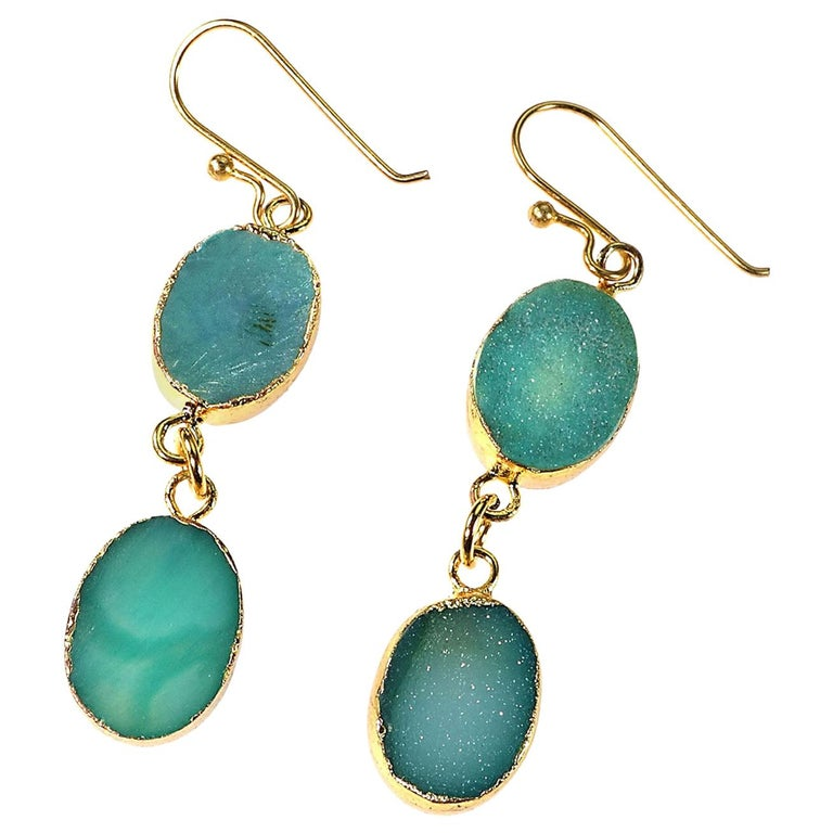 Teal Color Druzy Dangle Earrings with Goldy Bezels For Sale