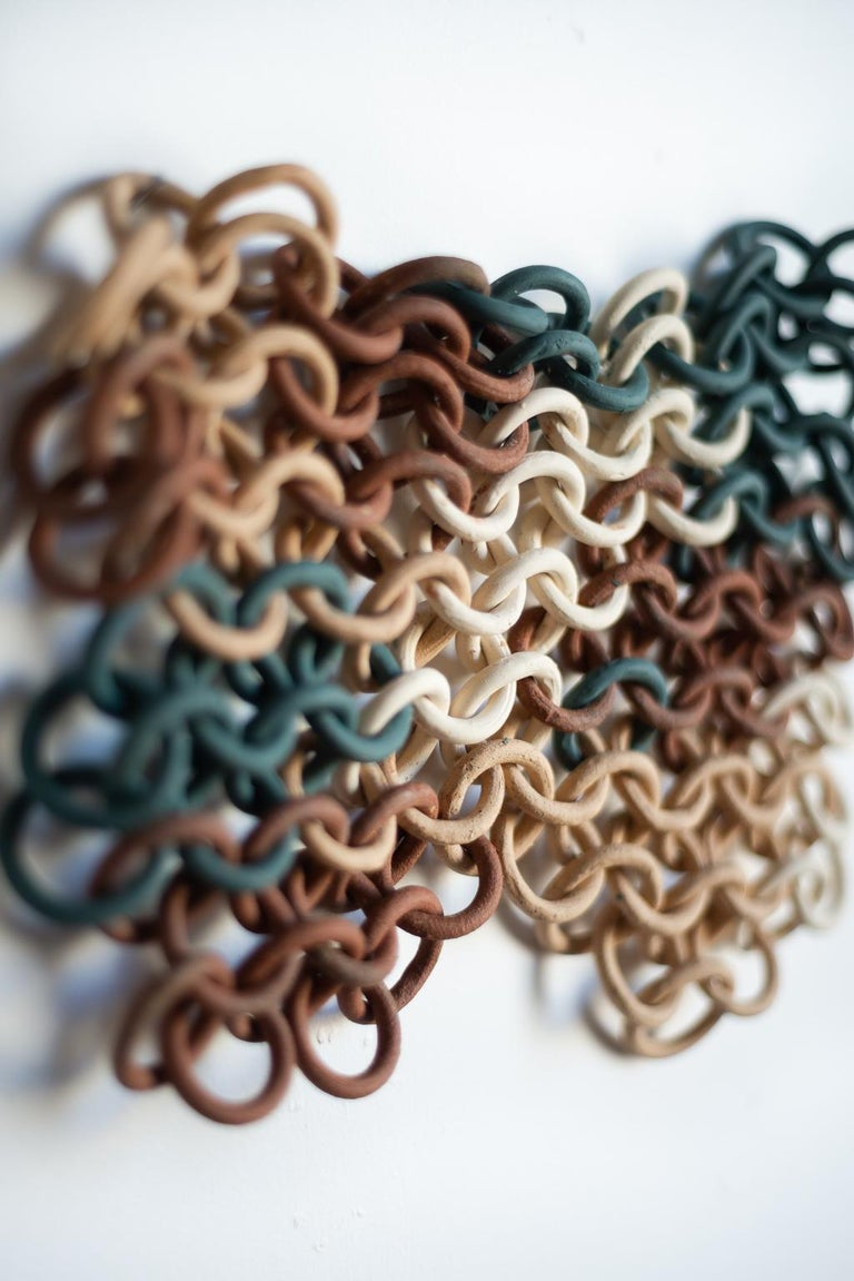 Fired Teal, Cream, and Tan Ceramic Chain-link Wall Sculpture by Taylor Kibby For Sale