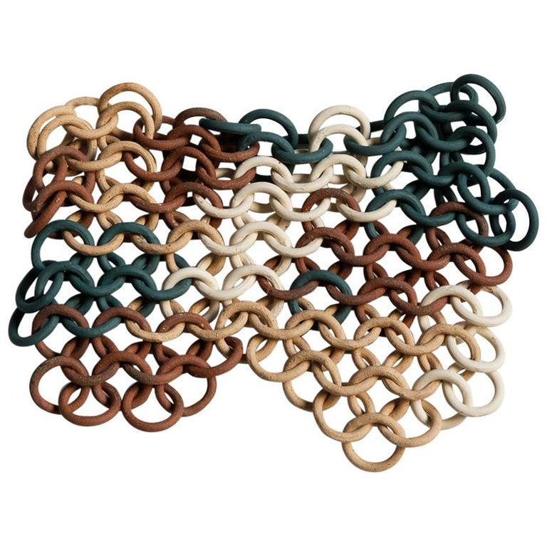 Teal, Cream, and Tan Ceramic Chain-link Wall Sculpture by Taylor Kibby For Sale