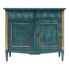 Teal Directoire Style Antique Buffet