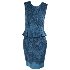 Teal Emilio Pucci Peplum Sheath Dress