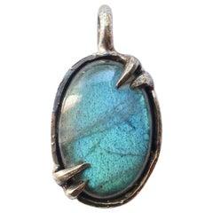 Teal Labradorite Pendant in Sterling Silver