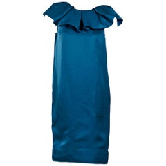 Teal Lanvin Ruffle-Trimmed Silk Shift Dress