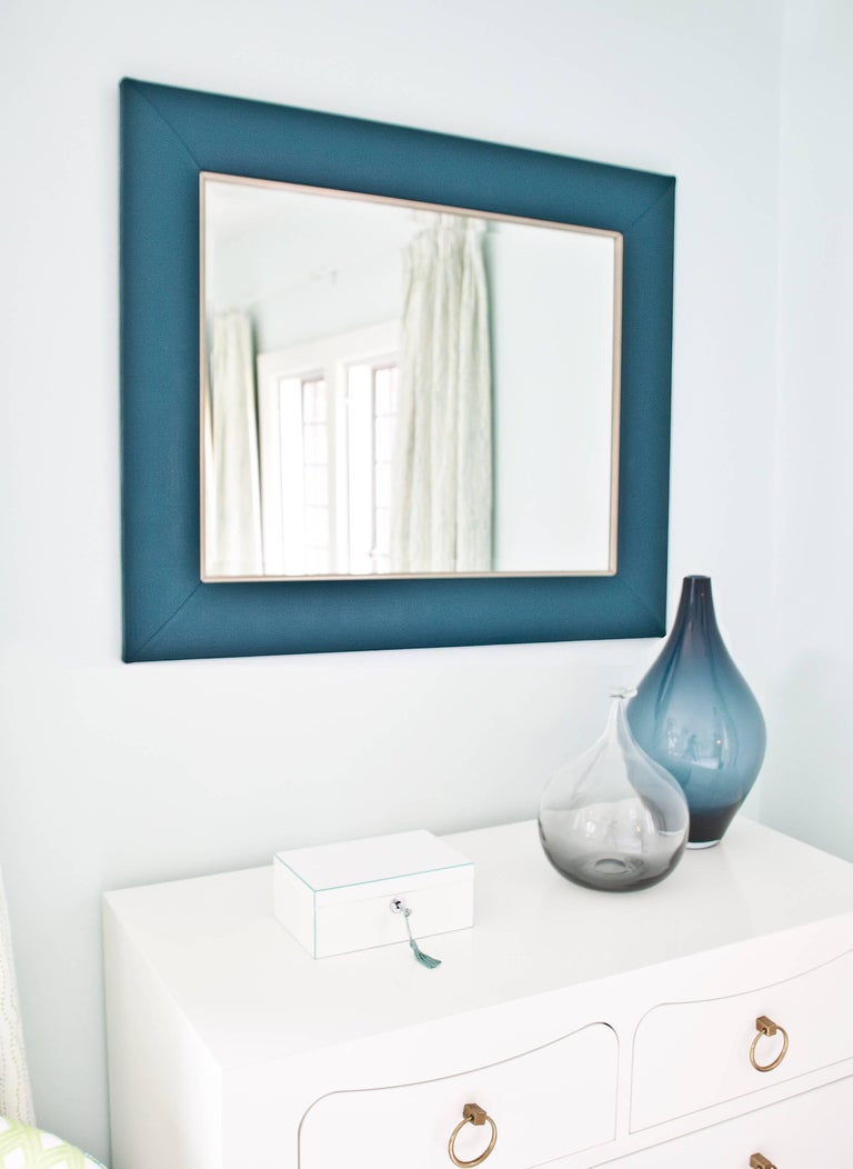 Mid-Century Modern Teal Lizard Embossed Leather Framed Mirror with Gold Detailing For Sale