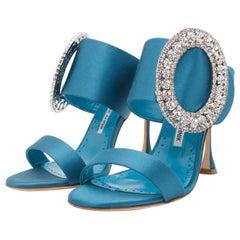 Teal Manolo Blahnik Fibiona Embellished Satin Mule Sandals