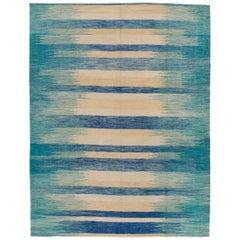 Teal Modern Expressionist Flat-Weave Handmade Wool Rug