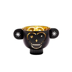 Tealight Holder Monkos in Brass with Black or White Outside by Jaime Hayon