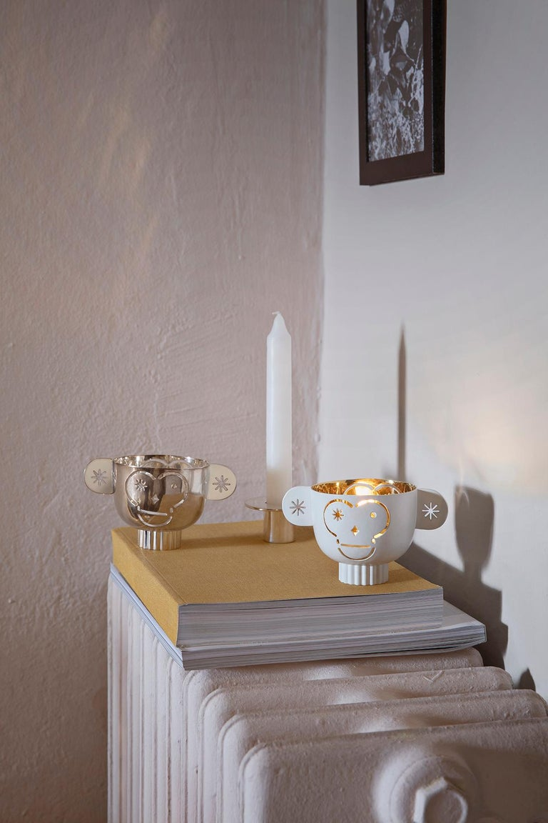 Italian Tealight Holder Monkos in Shiny Silver-plated by Jaime Hayon For Sale