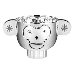 Tealight Holder Monkos in Shiny Silver-plated by Jaime Hayon