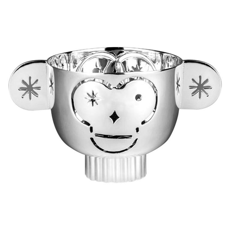 Tealight Holder Monkos in Shiny Silver-plated by Jaime Hayon For Sale