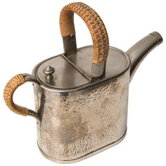 Teapot in Metal and Woven Cane by Carl Deffner in Germany
