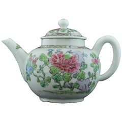 Teapot in the Famille Rose Style, Bow Porcelain Factory, circa 1752