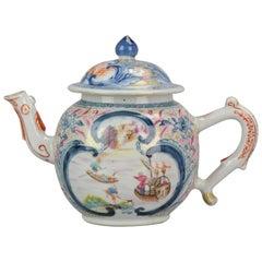 Teapot Mandarin Chinese Porcelain Boats Merchants, China, Qianlong, 17th Century