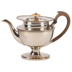 Teapot, Silver Metal, 19th Century Antiquity, Empire Period, Carved Wood Handle