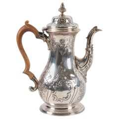 Teapot, Sterling Silver, 18th Century, England, Carved Boois Handle