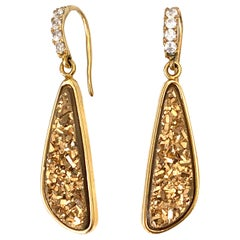 Tear drop Golden Druzy Quartz Vermeil Hook Earrings