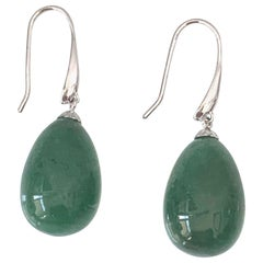 Tear drop Green Agate Hook Earrings