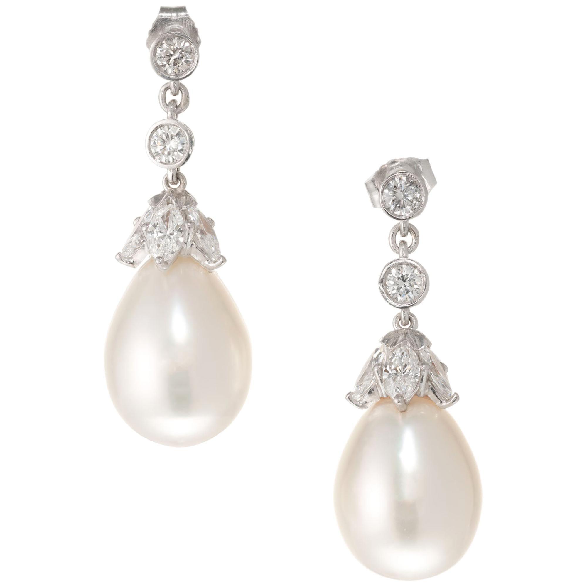 Tear Drop South Sea Cultured Pearl Diamond Platinum Dangle Earrings
