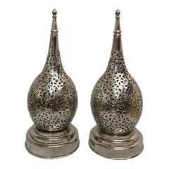 Tear Shaped Brass Handmade Table Lamps, a Pair