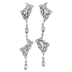 """Tearaway"" Long Dangle Earrings with Old & Single Cut Diamonds in White Gold"