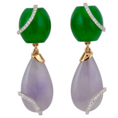 Teardrop and Diamond Crown Lavender Earrings by John Landrum Bryant