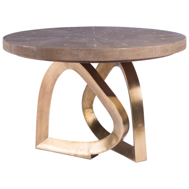 Teardrop Breakfast Table in Mink Shagreen and Bronze-Patina Brass by Kifu Paris For Sale