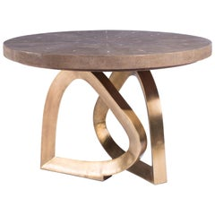 Teardrop Breakfast Table in Mink Shagreen and Bronze-Patina Brass by Kifu Paris