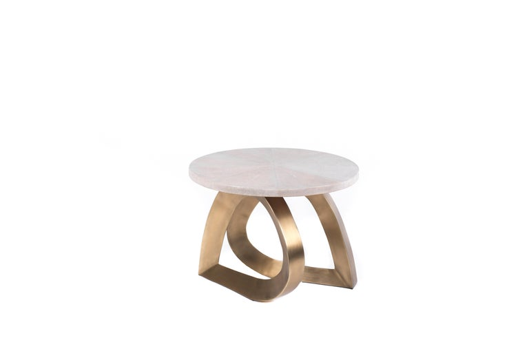 Hand-Crafted Teardrop Breakfast Table in Mink Shagreen and Bronze-Patina Brass by Kifu Paris For Sale