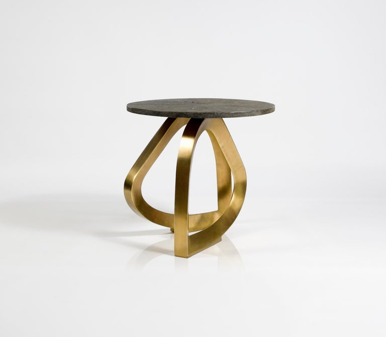 Teardrop Breakfast Table in Mink Shagreen and Bronze-Patina Brass by Kifu Paris In New Condition For Sale In New York, NY