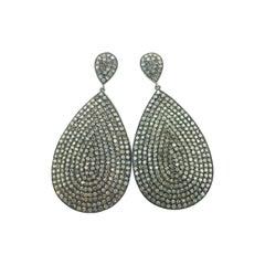 Teardrop Diamond Oxidized Sterling Silver Earring