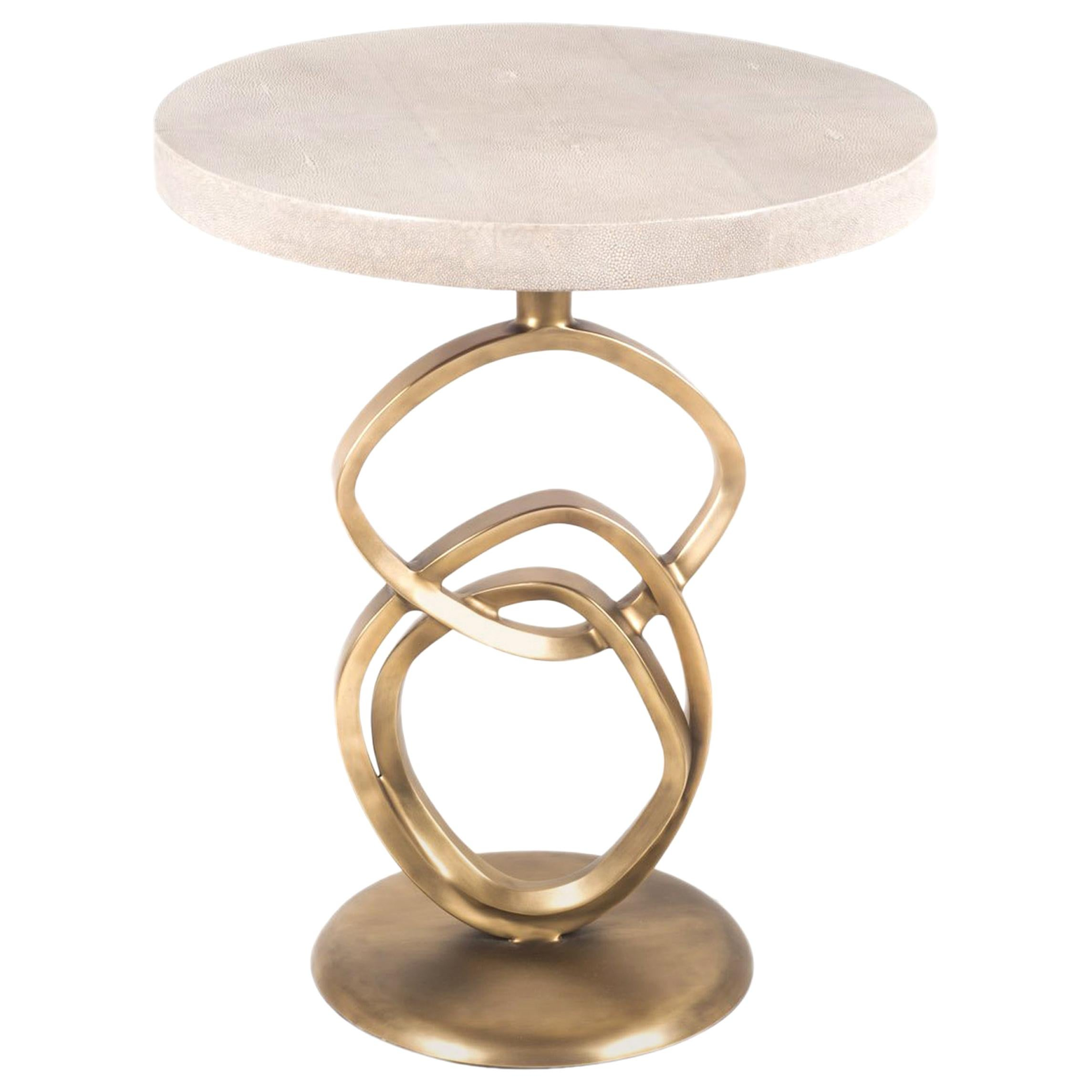 Teardrop I Side Table in Cream Shagreen and Bronze Patina Brass by Kifu Paris