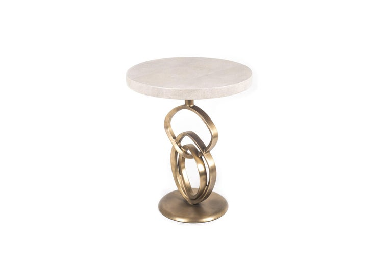 French Teardrop I Side Table in Cream Shagreen and Bronze Patina Brass by Kifu Paris For Sale